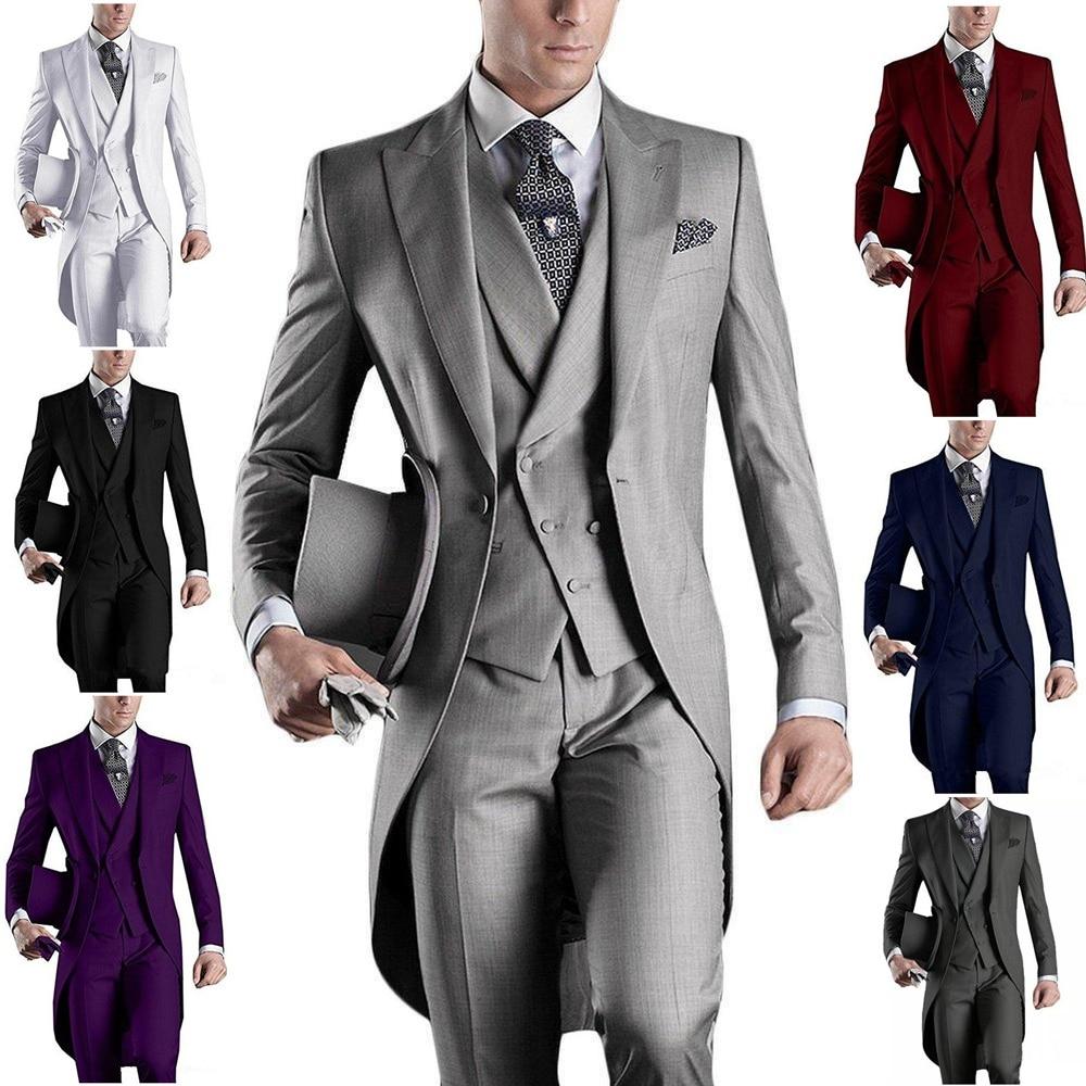 Custom Made White/Black/Grey/Burgundy Tailcoat Men Party Prom Groomsmen Suits For Wedding Tuxedos Jacket+Pants+Vest