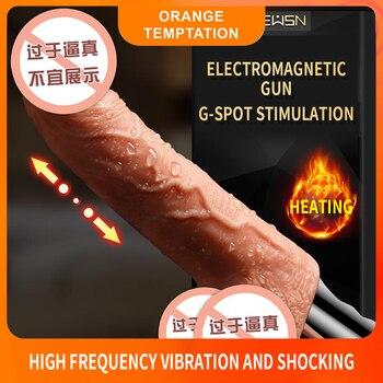 10 скоростей нагревание реалистичный Электрический Пенис Вибратор большой фаллоимитатор стимуляция точки G Клитор секс игрушки для женщин