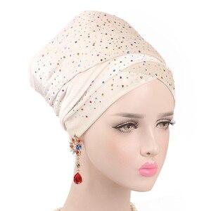 Image 2 - Helisopus 2020 New Muslim Long Tail Scarf Hat Women Starry Velvet Turban Chemo Cap Hair Accessories Women Headwraps