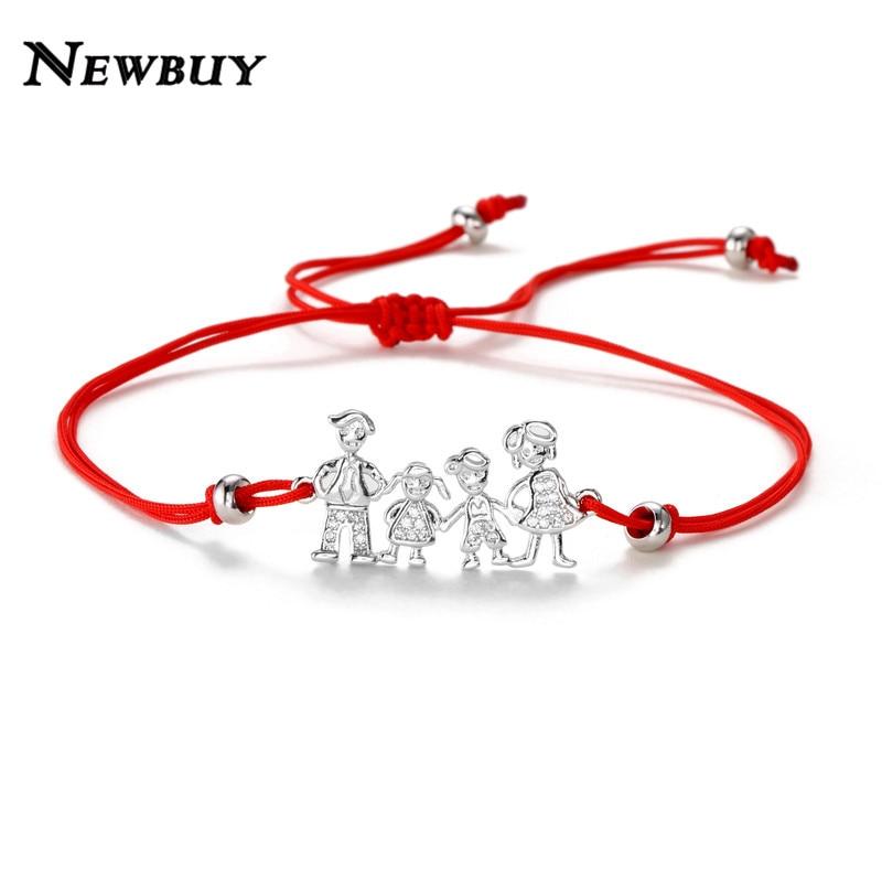 NEWBUY Family Mom & Dad & Boy & Girl CZ Charm Bracelets For Men Women Kids Adjustable Lucky Red String Jewelry Birthday Gift