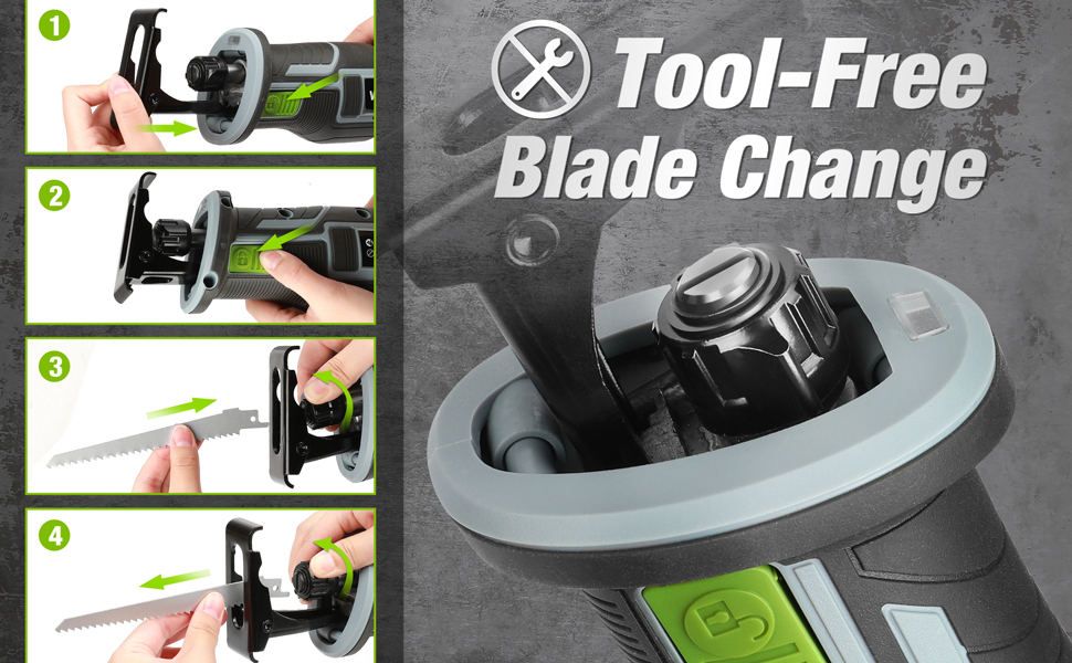 Tool Free Blade Change