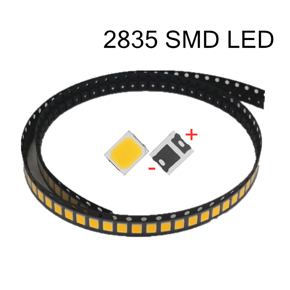 Original 100 pces alto brilho 2835 smd led chip 1 w 18 v 9 v 6 v 3 v 130lm branco led 3000 k 4000 k 6000 k 9000 k
