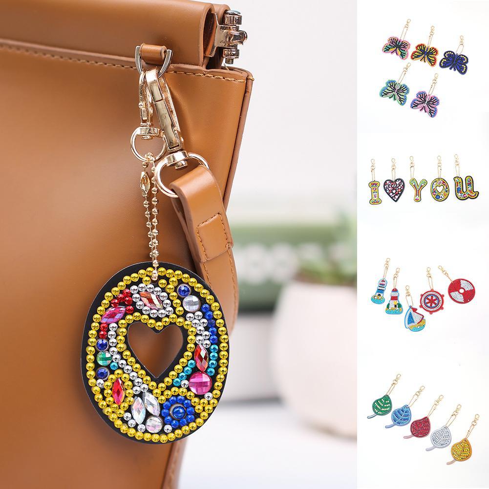 new hot sale hing 5Pcs Rhinestone DIY Diamond Painting Keychain Pendant Ornament Butterfly Leaf Bag Decor diamond painting cross