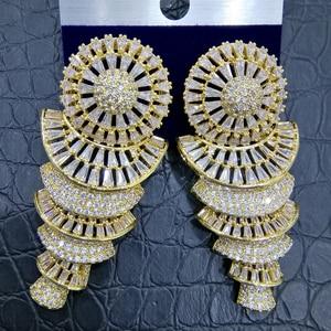 Image 1 - GODKI 流行ホイールファンアフリカ女性のためのイヤリング幾何ドロップイヤリング 2020 Brincos 女性 DIY ファッションジュエリー