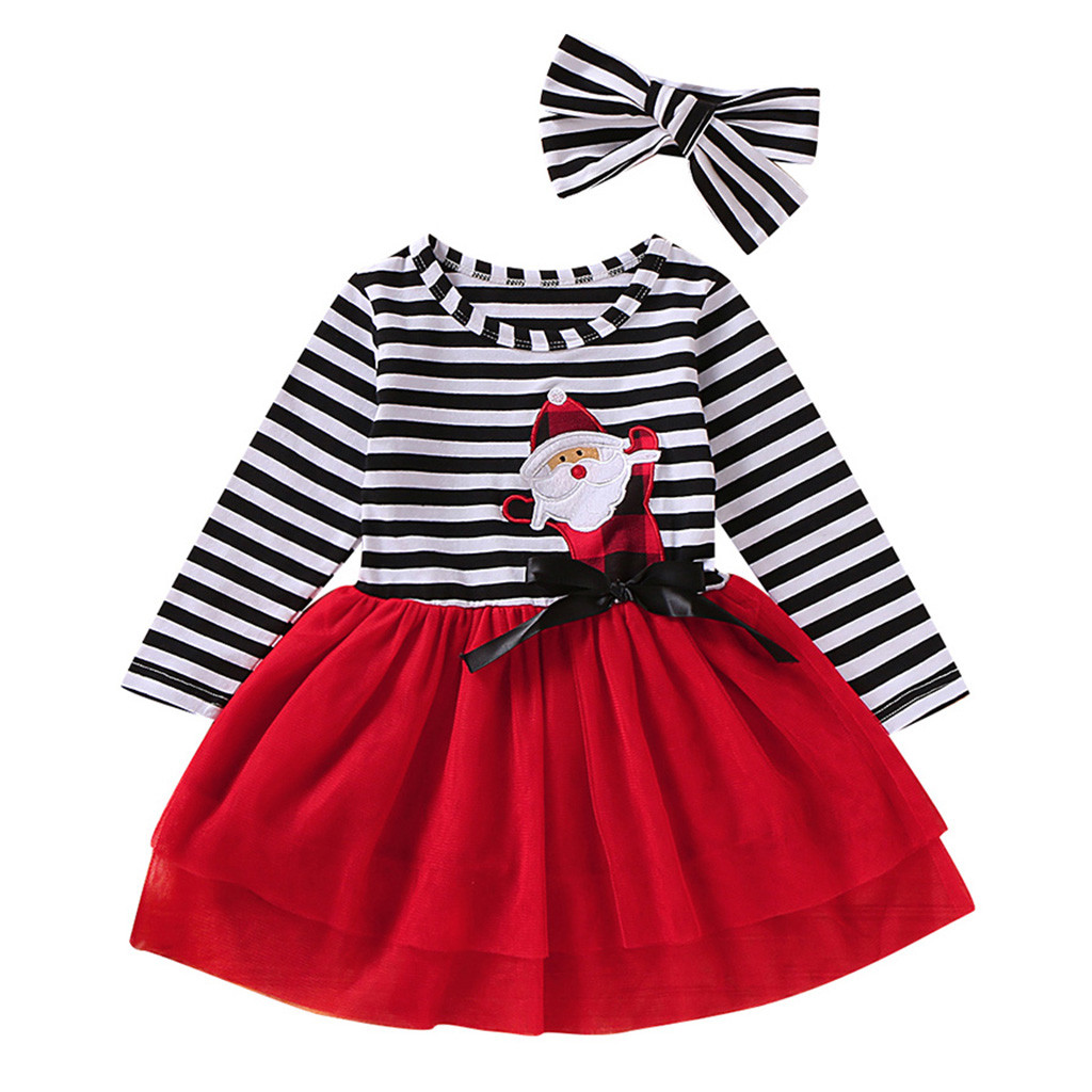 Toddler Kids Baby Girls Santa Striped Princess Dresses Christmas Outfits FUNIC Baby Girls Clothes