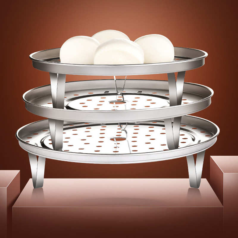 SST Steaming Rack 304 Steaming Rack Zheng Long Pian Steamer Double-edged Fine-toothed Comb Steamer Dwarf High Base Steaming Rack