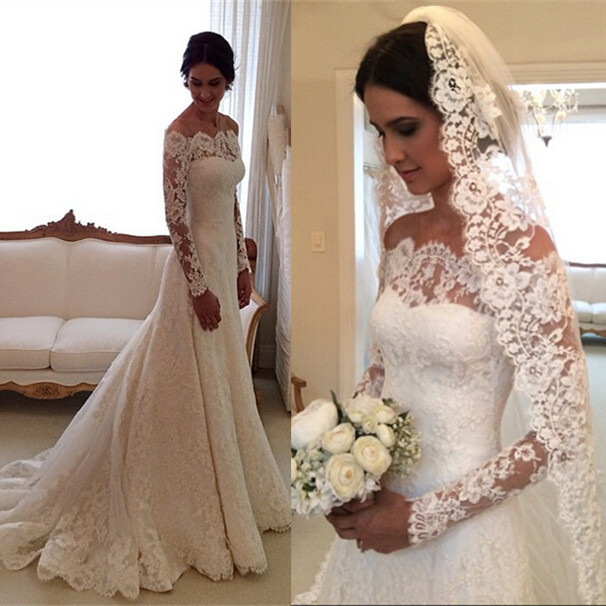 Custom Made New 2015 A Line Long Sleeve Lace Wedding Dress Vestido De Noiva Com Manga Longo Renda Free Shipping ZE3