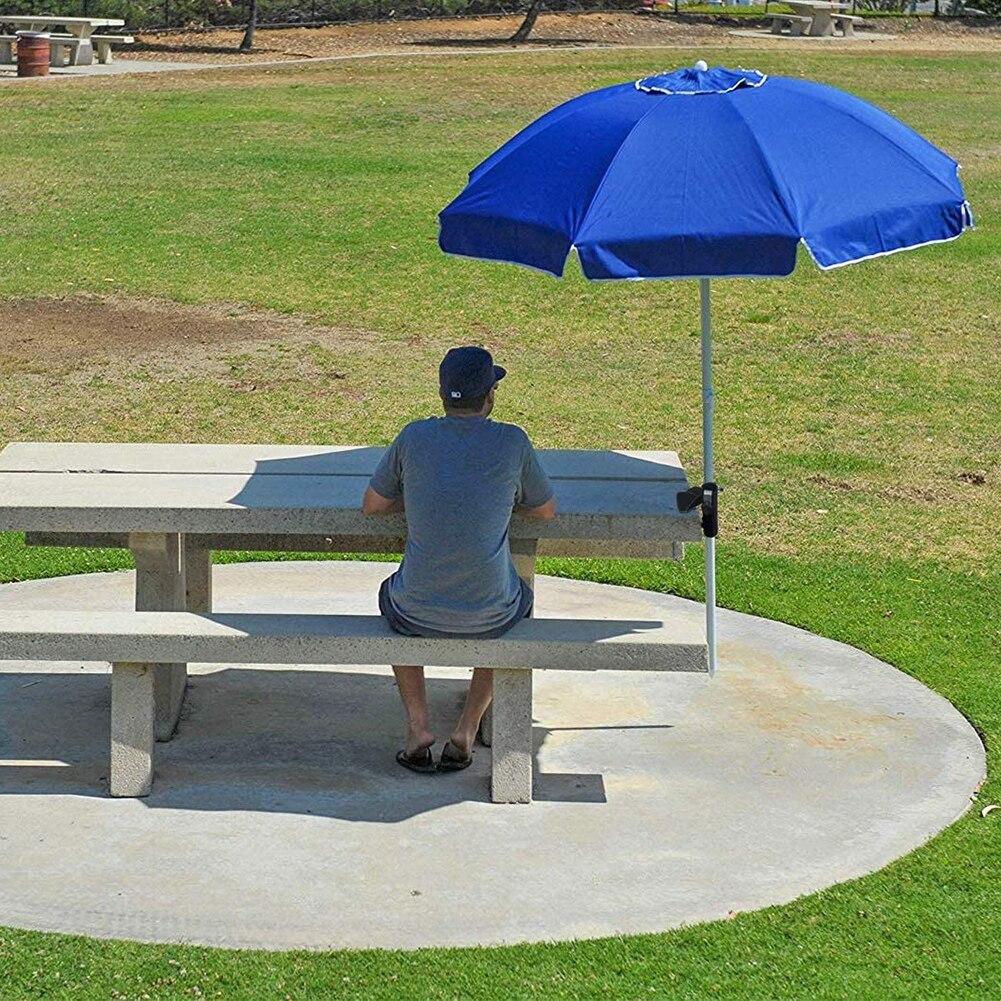Patio Umbrella Holder Clamp Tube Mount Balcony Beach Bench Sunshade Easy Install Garden Backyard Multifunction Outdoor Fishing