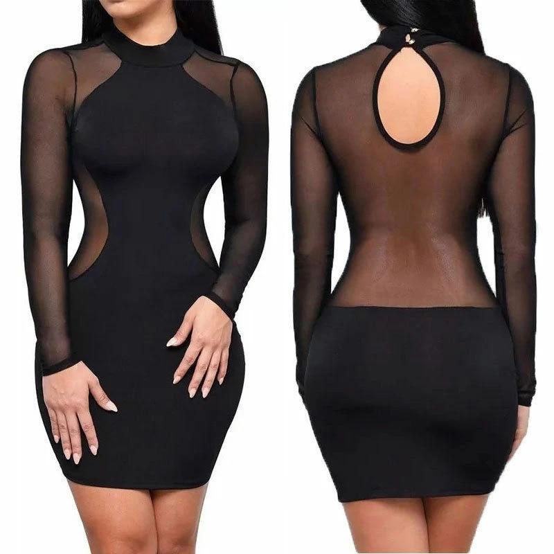 Women Off Shoulder Bodycon Clubwear Party Mesh sheer Patchwork Black Dress