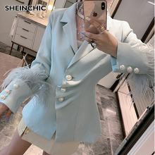 Runway Designer 2019 Women Pearl Button Fashion Suit Single Breasted Luxury Long Sleeve Female Ladie