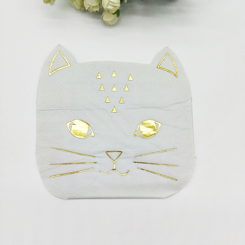 Cat Shaped Paper Napkins (40pcs) Cat Whiskers Tissue Serviette White and foil Gold Kitten Party Decor Kid's Party Funny Decor