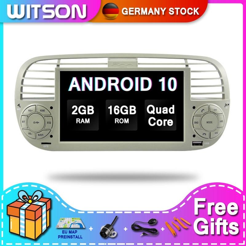 DE В наличии! WITSON Android 10 сенсорный монитор Автомобильная аудиосистема мультимедиа для FIAT 500 2 RAM + 16GB 4 Core + DVR/WIFI + DSP + DAB