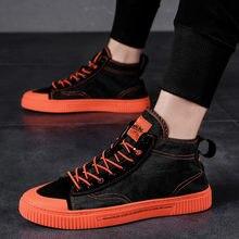Обувь в стиле панк; Мужские высокие кроссовки; Мужская парусиновая