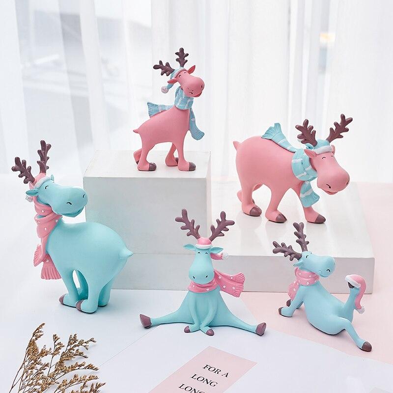 Creative Mini Deer Resin Ornaments Home Decor Decoration Craft Kids Toys Cute