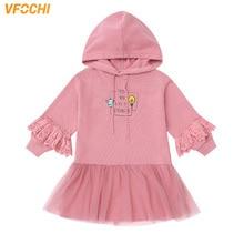 VFOCHI New Girls Dress Autumn Winter Hooded Long Sleeve Kids Casual Dress Warm Children Clothing Baby Girls Sweatshirt Dresses
