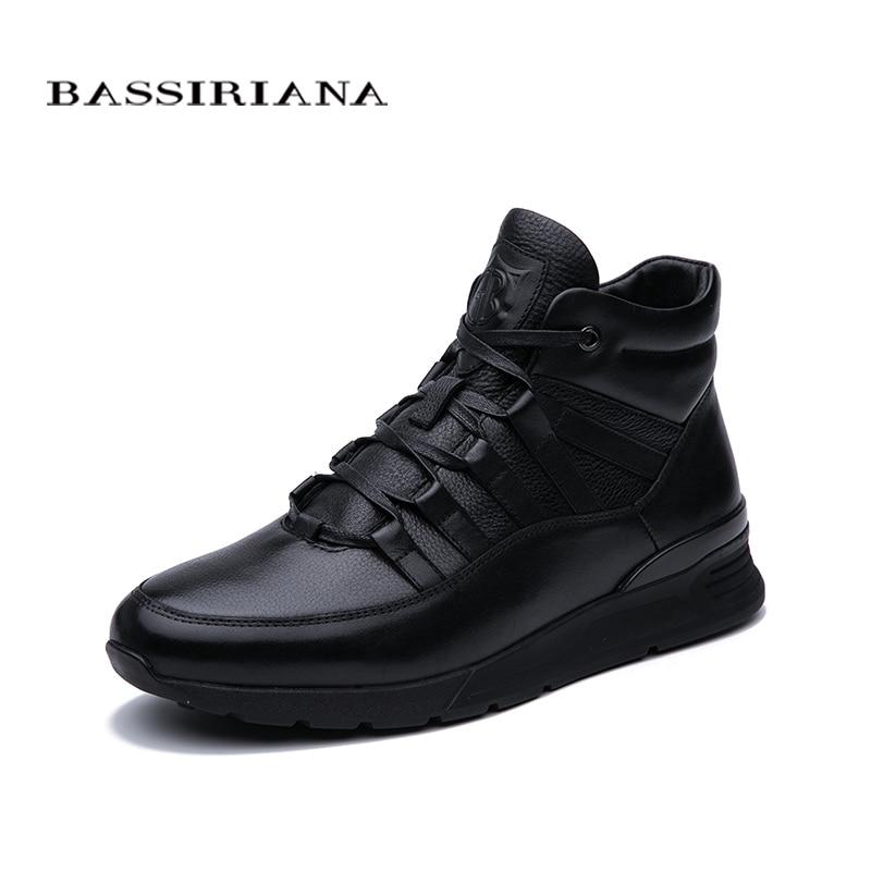 BASSIRIANA 2019 Winter New Men's Casual Sports Shoes Fur Warm Lace Black Free Shipping