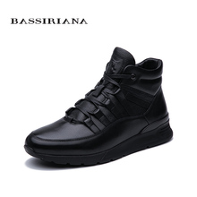 BASSIRIANA 2019 Winter new mens casual sports shoes fur warm lace black free shipping