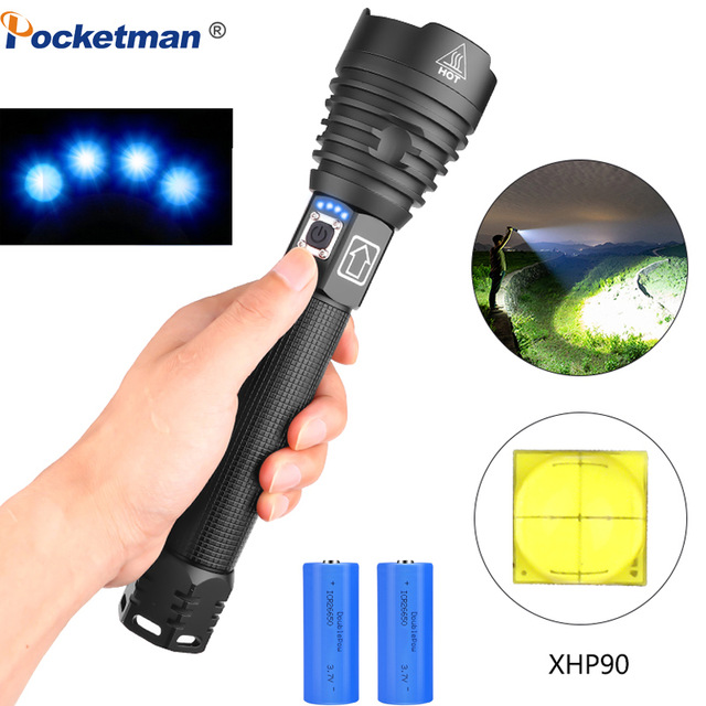 NEW XHP90 Most Powerful LED Flashlight XLamp 18650 26650 Zoom Torch XHP70.2 USB Rechargeable Tactical Light Camping Hunting Lamp
