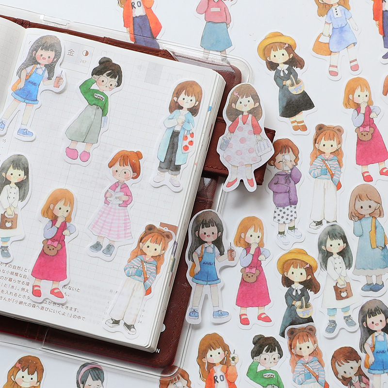 51pcs/1lot Kawaii Stationery Stickers Girl Dressup Diary Decorative Mobile Stickers Scrapbooking DIY Craft Stickers
