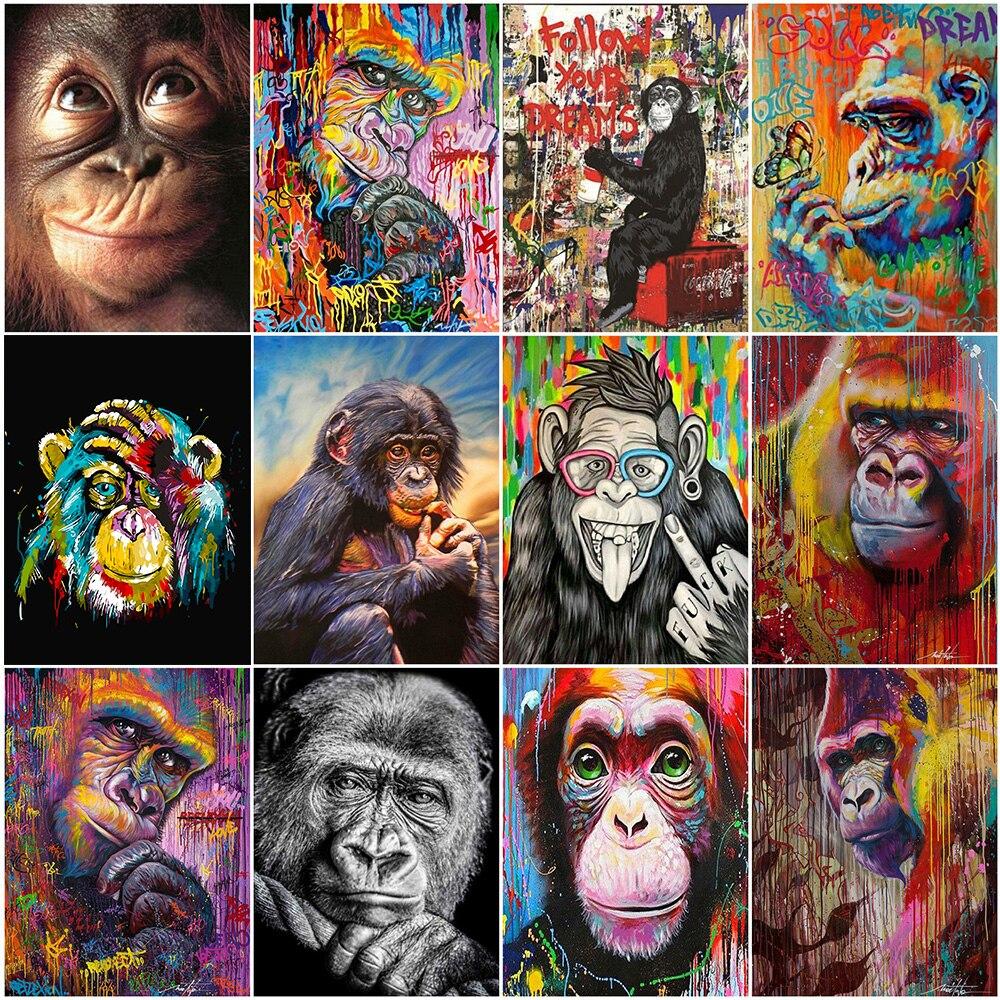 AMTMBS Животные обезьяна Наборы картина маслом по номерам для взрослых Раскраска по номерам рисунок на холсте 75x60 см DIY подарок Декор для дома