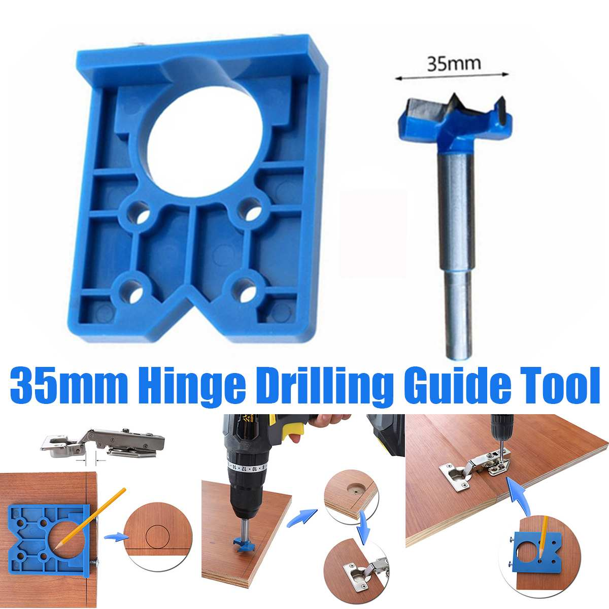 35mm Hinge Hole Drilling Guide Locator Hinge Drilling Jig Drill Bits Woodworking Door Hole Opener Cabinet Accessories Tool