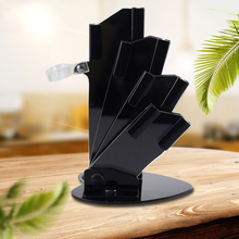 купить High Quality Black Acrylic Kitchen Ceramic Knife Holder for 3'' 4'' 5'' 6'' inch Knives with peeler Cutlery Stand Block Tool дешево