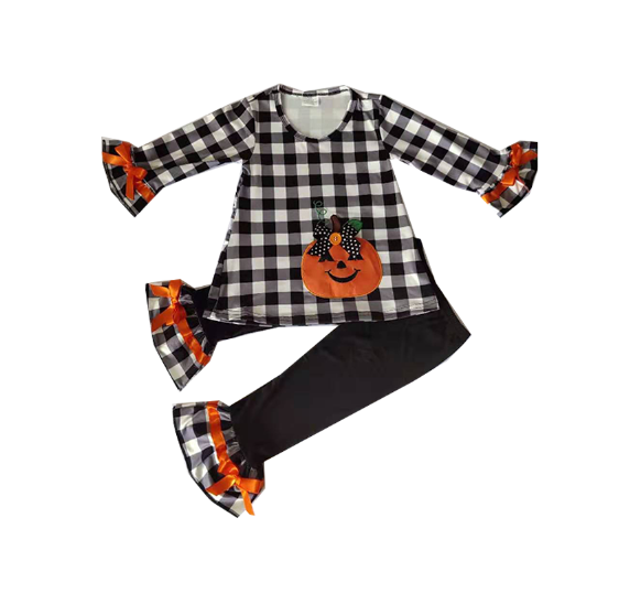 Cute Girls Ruffle Outfits With Long Sleeve Embroidery Set Pumpkin Pattern Set