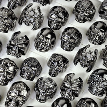 30Pcs Fashion Mens Ring Skull Skeleton Gothic Biker Rings Men Ring Party Favor Wholesale Jewelry Lots Top Quality LR4107