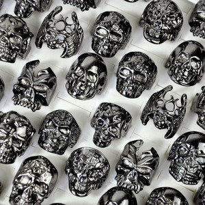 Image 1 - 30Pcs Fashion Mens Ring Skull Skeleton Gothic Biker Rings Men Ring Party Favor Wholesale Jewelry Lots Top Quality LR4107