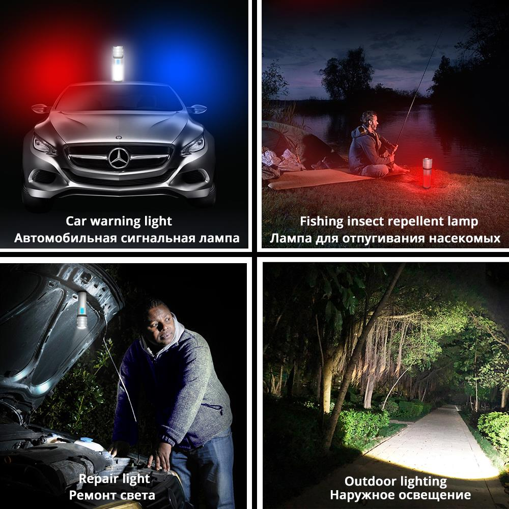 Купить с кэшбэком High-End LED Flashlight COB Camping light Mobile power Double side light Rechargeable Super bright Torch Tail with magnet