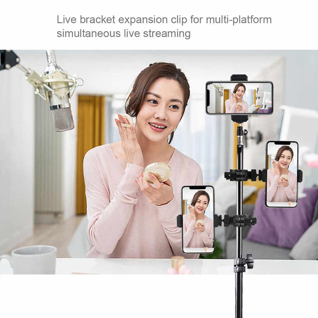 Mode Automatische spann 360 ° Schwenk Rotierenden StandCell Telefon Ständer Halter Für Ring Licht Stativ Fotografie DSLR Kamera