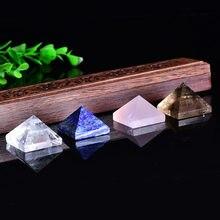 Pirámide de cristal Natural para decoración del hogar, piedra curativa de Cuarzo Rosa, Lazuli, Reiki, punto de cristal rosa y azul, 1 unidad