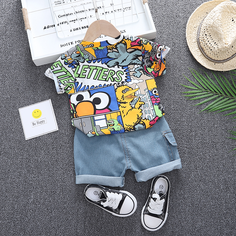 Baby Clothes Boys Clothes Sets Summer Cartoon Animal Print T Shirt and Short Jeans Set for Boy Clothing Costume 1 2 3 4 Years 2