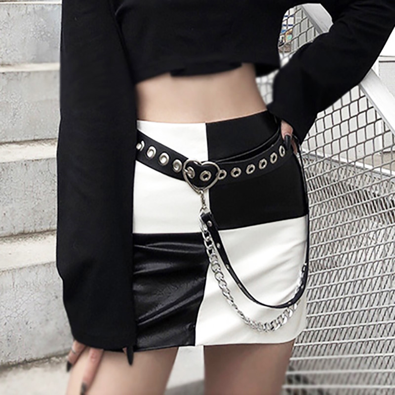 Punk Women Belt Street Fashion Waist Belt With Chain PU Leather Sweetheart Buckle Belts For Ladies Skirt Jeans Wild Waistband