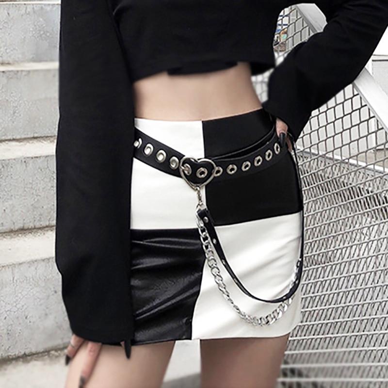 Punk Women Belt Street Fashion Waist Belt With Chain PU Leather Sweetheart Buckle Belts For Ladies Skirt Jeans Wild Waistband