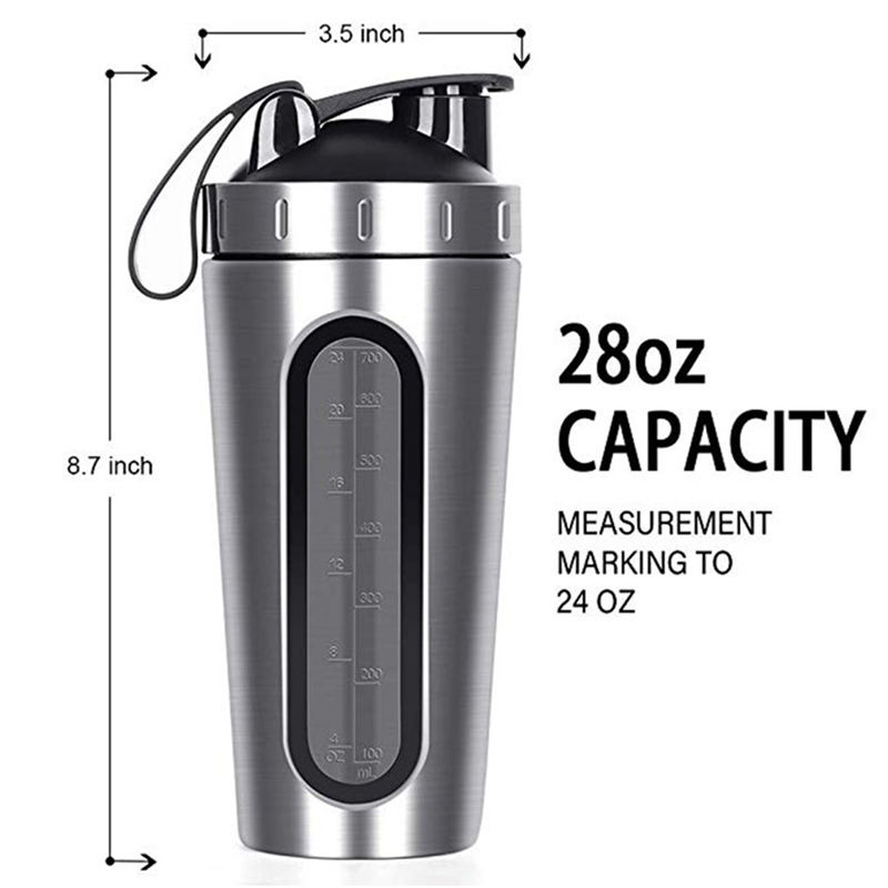 28 Oz Whey Protein Powder Sports Shaker Bottle Stainless Steel Gym Sports Blender Cup Vacuum Insulation Water Drinking Bottle image