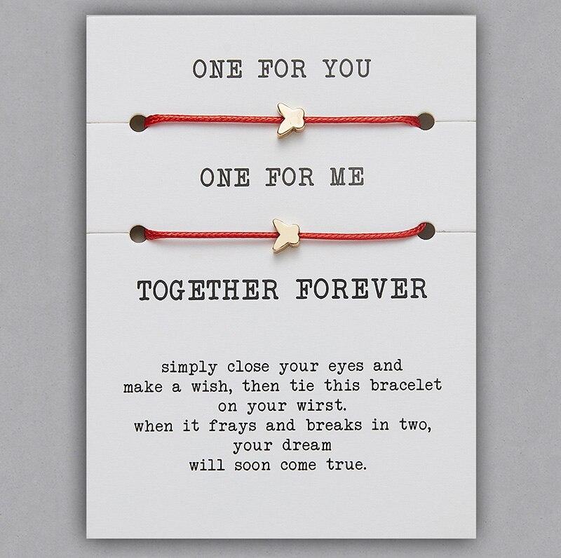 2 шт./компл. Сердце Звезда браслеты с крестообразной подвеской один для вас один для меня красная веревка плетение пара браслет для мужчин женщин карточка пожеланий - Окраска металла: BR18Y0715-2