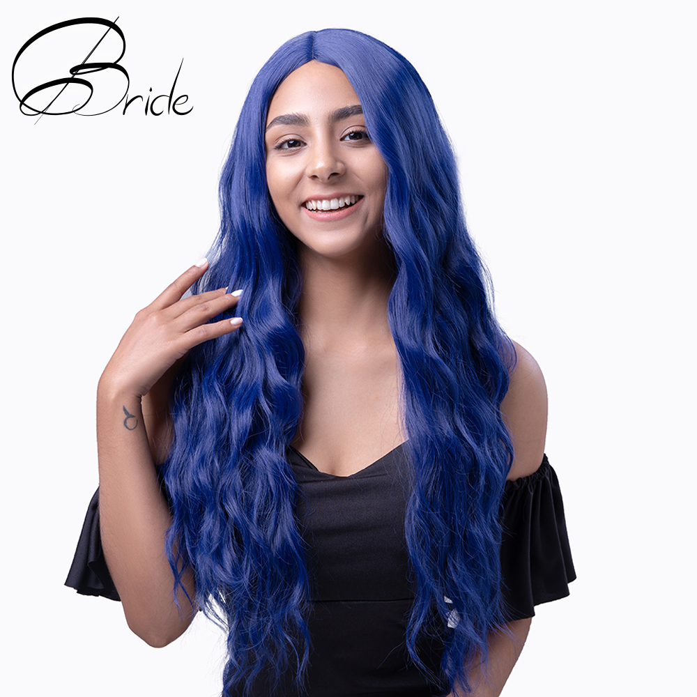 BRIDE 24in Blue Wig Water Wave Wig With Cap For White Women 24in Synthetic Wigs Heat Resiatant Wig Cosplay Party Extensions Hair