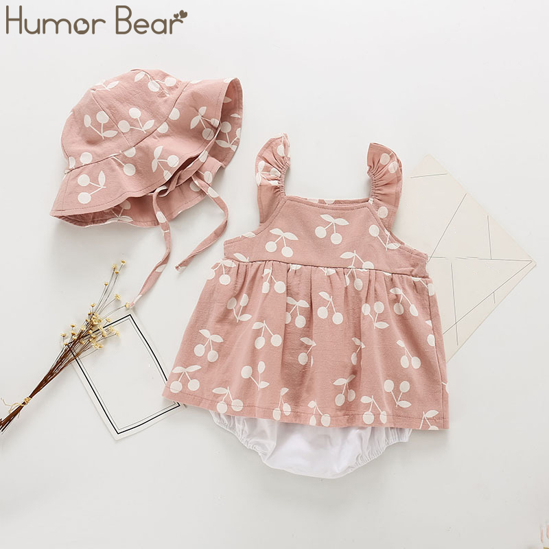 Humor Bear Baby Girls Clothing Fashion Baby Casual Flower Baby Girl Rompers Short  Sleeve +Hat Suit 2Pcs Toddler Baby Clothing