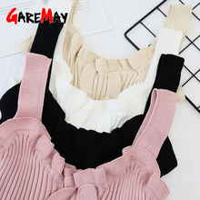 GareMay Ladies Sexy Top Women Halter Ruffles Top White Cami Sleeveless Knitted Tank Tops Women'S Autumn Camisole Plus Size(China)