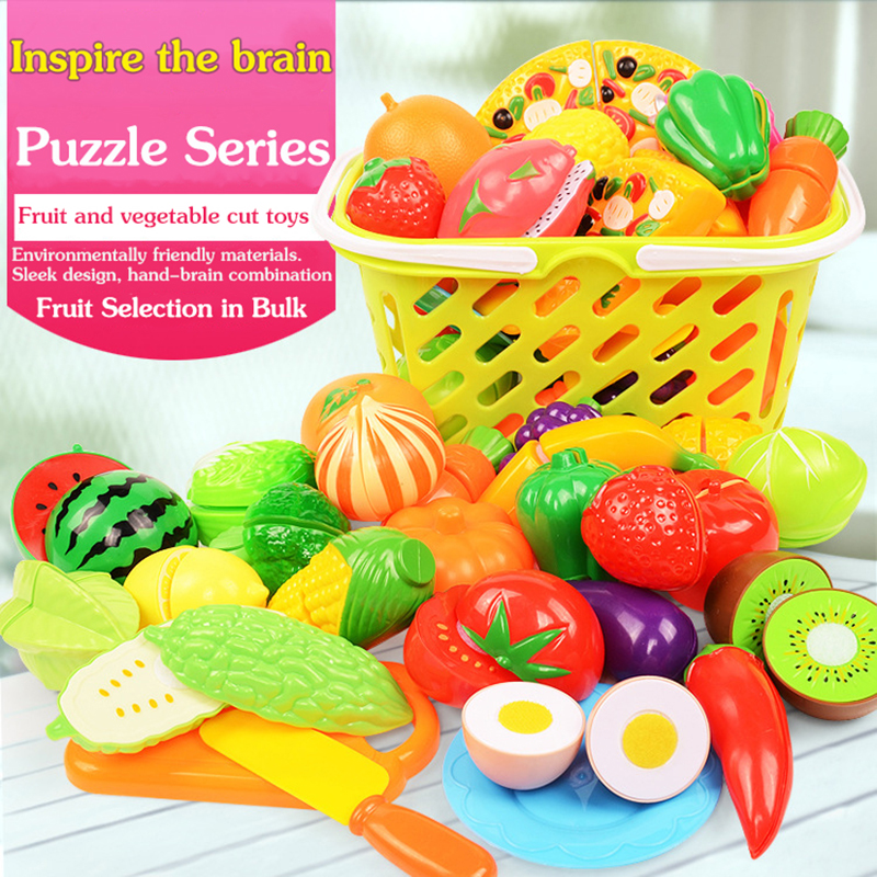 30 Set Safe Children Play House Toy Plastic Food Toy Cut Fruit Vegetable Kitchen Baby Kids Pretend Play Educational Toys
