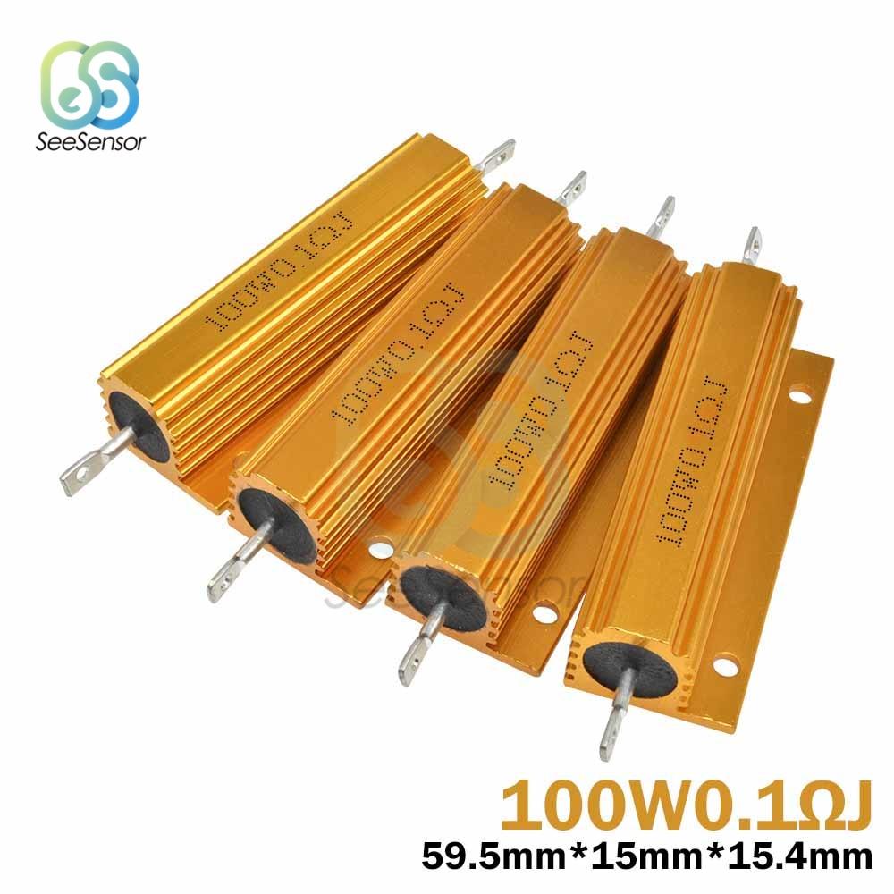 100W 0.1~100K Aluminum Power Metal Shell Case Wirewound Resistor 0.1 0.5 1 1.5 2 3 4 5 6 8 10 12 15 20 22 30 33 50 100 1K ohm