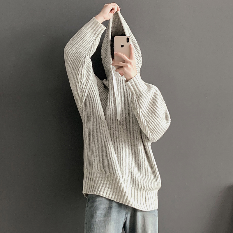 Winter Hooded Sweater Men's Warm Solid Color Casual Knit Pullover Man Sweter Clothes Loose Long-sleeved Sweaters Men S-XL