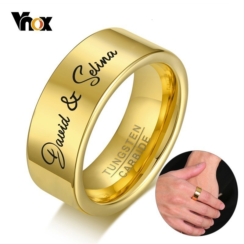 Vnox Free Personalized Rings For Men Tungsten Carbide Wedding