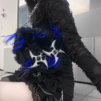 Handmade Killer Bag Black & Blue Plush Gothic Punk Cosplay Tote Bag