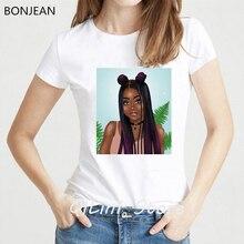 vogue tshirt cool Melanin Poppin shirt women clothes 2019 harajuku ulzzang shirt black girl white t shirt femme streetwear tops цены
