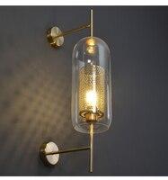現代のクリアガラスシェードスコーン壁ランプ寝室用 Bedsides 研究ライトハンギングロフトレトロ鉄ミラー光ネット器具