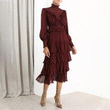 Осень Новое поступление элегантные винтажные кружевные буфы на рукавах женское платье