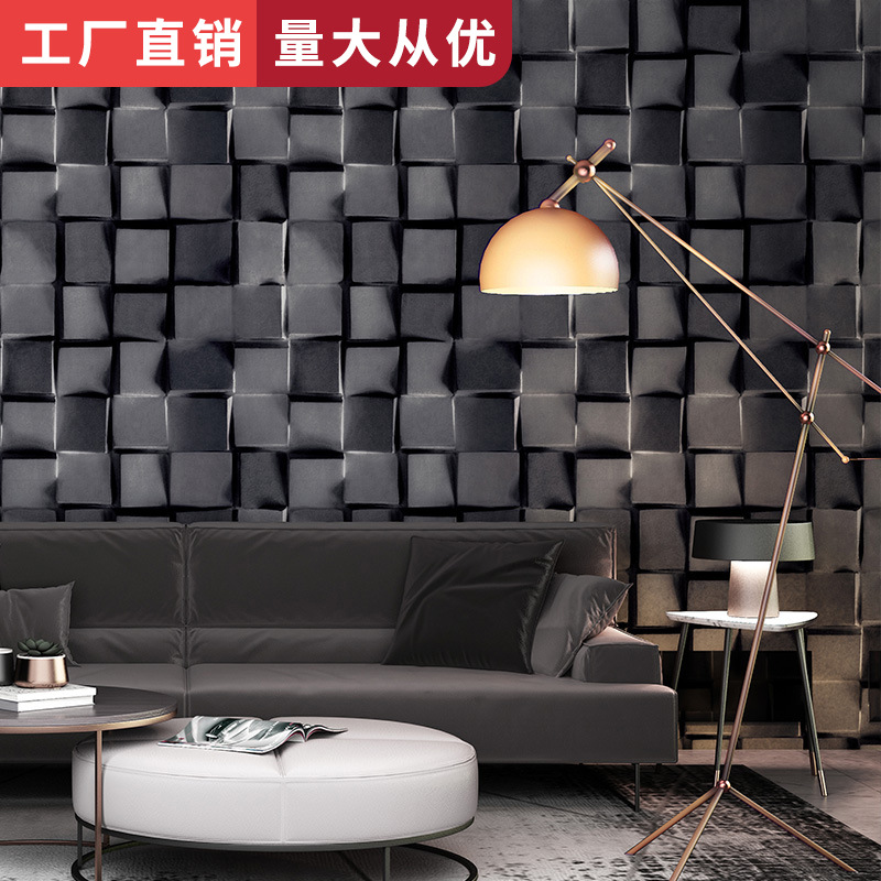 Restaurant Clothing Store Barber Shop Wall Wallpaper 3D Northern European-Style Wallpaper Black And White Lattices Black And Whi