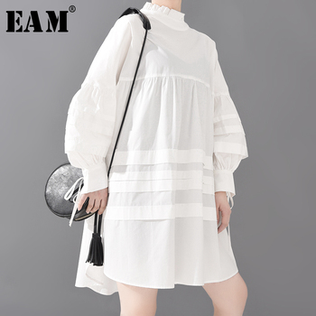 [EAM] Women White Ruffles Big Size Shirt Dress New Stand Collar Long Sleeve Loose Fit Fashion Tide Spring Summer 2020 1B89101